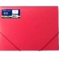 Пластиковая гладкая папка с резинками А4 красная BuroMax