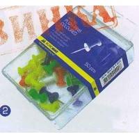Кнопки-гвоздики 50шт цветные BuroMax